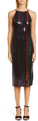 Badgley Mischka Stripe Sequin Midi Evening Dress