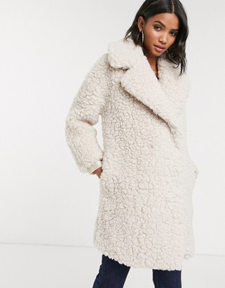 Topshop borg coat in cream
