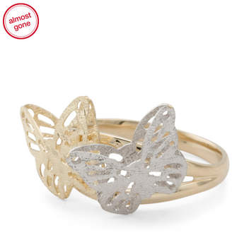 Made In Italy 14k Gold 2 Tone Butterfly Ring