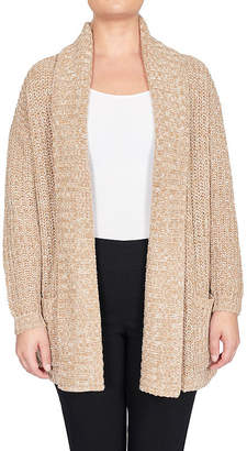 Larry Levine Womens Long Sleeve Open Front Tonal Cardigan