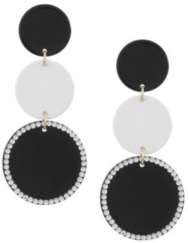 Trifari Gold-Tone Painted Metal Linear Earrings