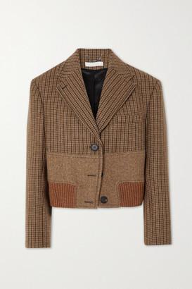Chloé Cropped Paneled Wool-tweed Jacket - Brown
