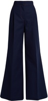 MSGM Contrast-stitch wide leg trousers