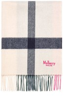 Mulberry Large Check Scarf Beige Lambswool