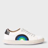 Paul Smith Men's Off-White Leather 'Basso' Sneakers With Rainbow Print