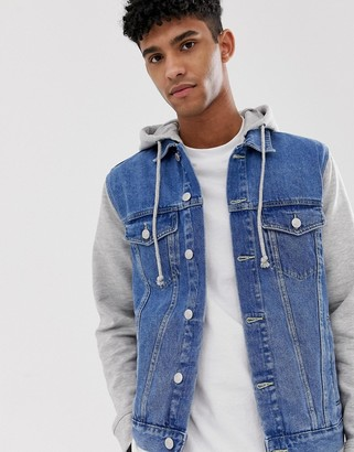 New Look denim jacket with jersey sleeves in blue