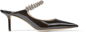 Jimmy Choo BING 65 Black Patent Leather Mules with Crystal Strap