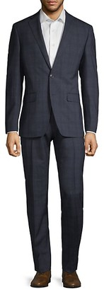 Calvin Klein Extra Slim Fit Plaid Wool Suit