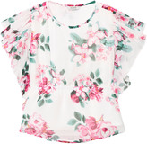GUESS White and Floral Chiffon Blouse