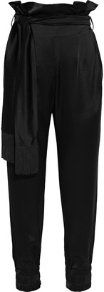 Mother of Pearl Nancy Cropped Belted Satin Tapered Pants