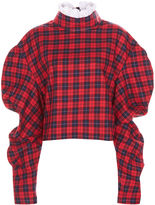 Awake Red Plaid Check Collar Top