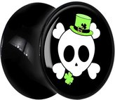 Body Candy Black Acrylic St. Patty's Skull Saddle Plug Pair 12mm