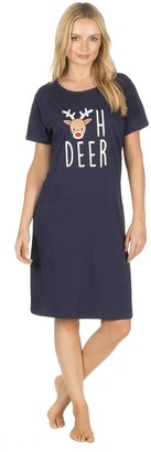 Forever Dreaming Ladies Cotton Jersey Festive Christmas Nightshirt Blue 8-10