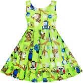 Sunny Fashion JH33 Girls Illusion Checked Organza Dress Owl Squirrel Print Cute Party
