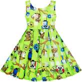 Sunny Fashion JH34 Girls Illusion Checked Organza Dress Owl Squirrel Print Cute Party
