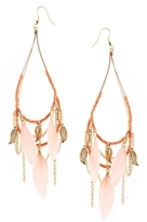Asos Feather Charm Festival Earrings - Coral/gold