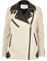River Island Womens Cream fleece aviator coat