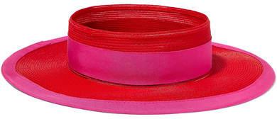 Eugenia Kim Lettie Grosgrain-trimmed Faux Raffia Hat - Red