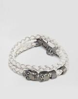 ICON BRAND Plaited Skull Wrap Bracelet