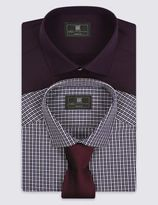 Marks and Spencer 2 Pack Easy to Iron Tailored Fit Checked Shirts with Tie