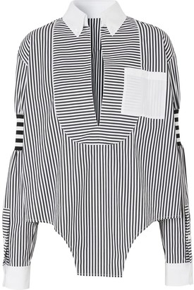 Burberry Cut-Out Hem Striped Shirt