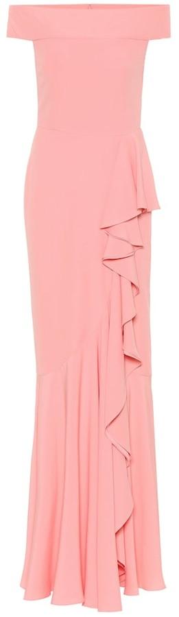 Alexander McQueen Off-the-shoulder crepe ruffled gown