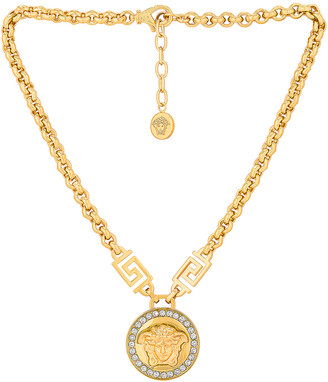 Versace Medusa Pendant Necklace in Bianco & Oro   FWRD