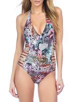 Kenneth Cole New York Pure Instincts Side Cut-Out Halter Tummy Toner One-Piece