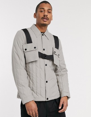 ASOS DESIGN quilted coach jacket with harness in gray