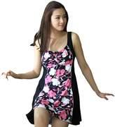 HAIZI One Piece Plus Size Swimwear Cover Ups Swimsuit Floral Swimdress For Womens