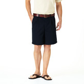 Haggar Solid Twill Shorts -Classic Fit, Pleated Front, Expandable Waist