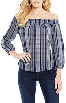 Blu Pepper Plaid Off-The-Shoulder Smocked Top