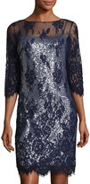 Marina Sequined Dress w/Floral-Lace Overlay