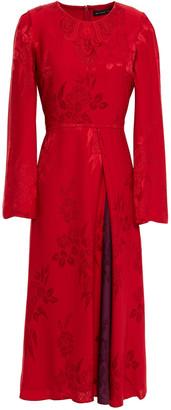 Etro Pleated Floral-jacquard Midi Dress