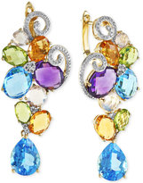 Effy Mosaic by Diamond (1/5 ct. t.w.) and Multicolor Cluster Earrings in 14k Gold