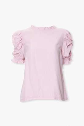 Forever 21 Ruched Puff-Sleeve Top