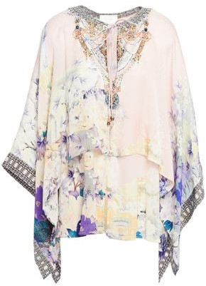 Camilla Embellished Floral-print Crepe De Chine And Silk-satin Cover-up