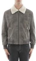 Neil Barrett Men's Grey Leather Outerwear Jacket.