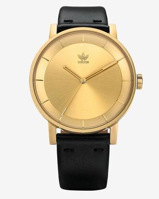 Express Adidas Men'S District L1 Gold Black Leather Strap Watch