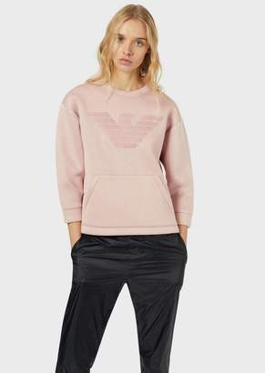 Emporio Armani Sweatshirt With Embroidered Eagle And Pouch Pocket