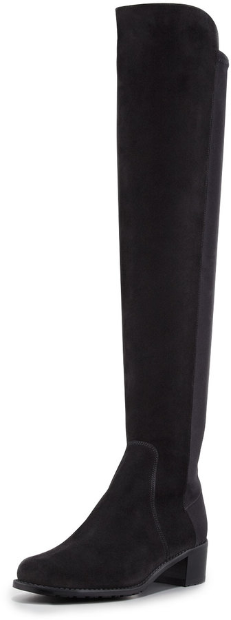 Stuart Weitzman Reserve Suede Stretch Over-the-Knee Boot, Black