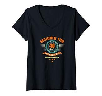 Womens 40th Wedding Anniversary Gift Husband Wife Couple Present V-Neck T-Shirt