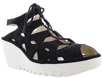 Fly London Women's Sandals 003 - Black Wedge Yexa Leather Slingback - Women