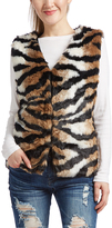Brown & Black Tiger-Print Faux Fur Vest