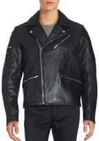 Karl Lagerfeld Long Sleeve Leather Jacket