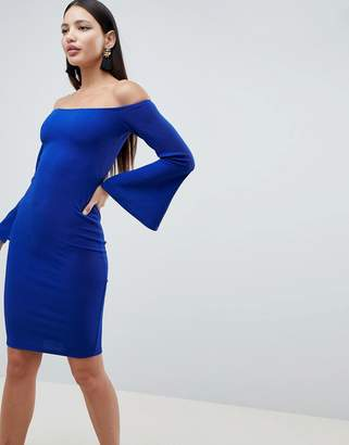 AX Paris Flute Sleeve Midi Dress-Blue