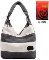 AOU Women's Canvas Shoulder Handbag Mixed Color Purse Tote Bag
