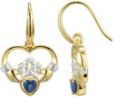 JCPenney FINE JEWELRY Heart-Shaped Genuine Blue Sapphire and Diamond-Accent Claddagh Earrings