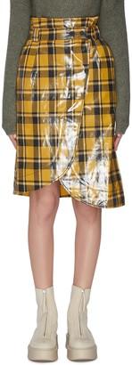 Ganni Coated twill midi skirt