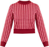 House of Holland Pink Diamond Cropped Lurex Wool Sweater